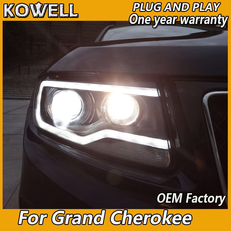 KOWELL Car Styling For Jeep Grand Cherokee 2011-2015 LED Headlight Xenon HID Front Light For Grand Cherokee LED DRL Headlight