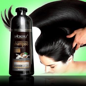 Mokeru 1pc Long Lasting Fast Black Hair Shampoo Organic Pure Natural Coconut Oil Essence Hair Dye Shampoo for Hair for Women 1