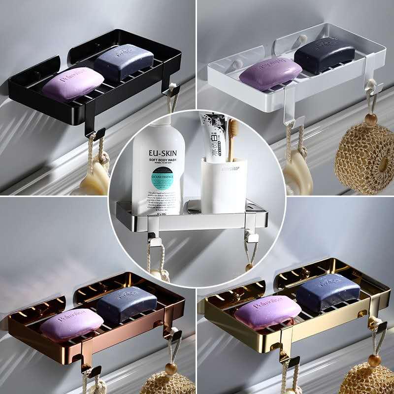 Black Bathroom Shelf Without Hook Corner Shelf Cosmetic Shelf Stainless Steel Shower Rack Bathroom Storage Organizer Rack Holder