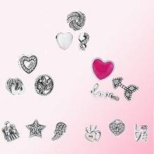 Женский Классический многоцветной браслет из 100% стерлингового серебра 925 пробы, украшение из стеклянных бусин, бесплатная доставка, 2019
