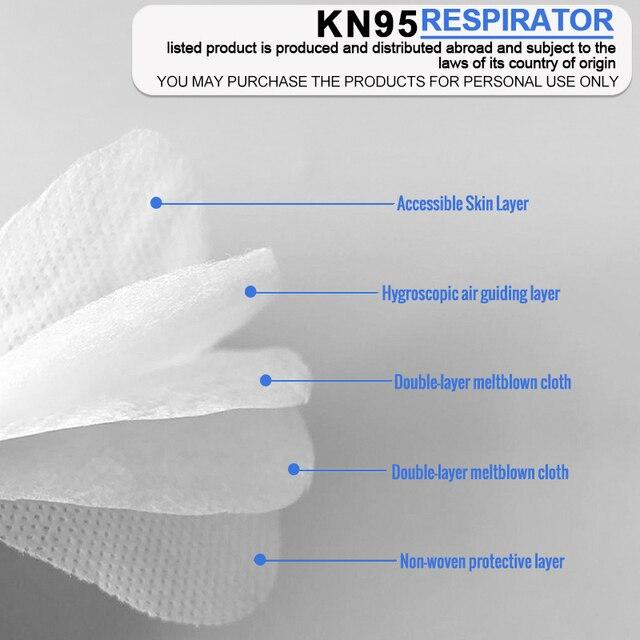 20 Pcs KN95 Face Mask 95% Filter Mouth Mask Anti Flu Protective Respirator Mask K95 Mascarilla Masque ff Facemasks Wholesale 4