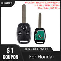 YLKGTTER Auto Remote Key Anzug für Honda Accord CR-V HR-V Fit City Jazz Odyssey Shuttle Civic mit 313.8/315 /433MHz & HON66 Klinge