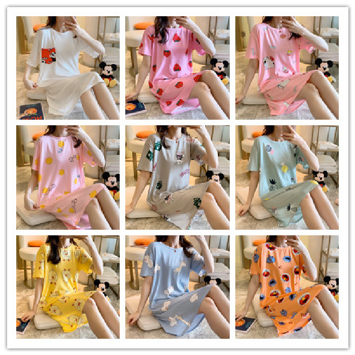 Summer Short Sleeve Nightgown Thin Qmilch Cartoon Multi--Cute Crew Neck Dress Low Price