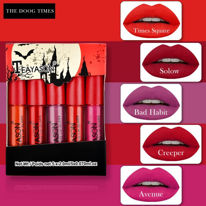 TEAYASON 5PC/Set Velvet Matte Lipstick Waterproof Easy To Wear Lip Stick Long Lasting Liquid Lip Gloss Red Sexy Lip Makeup TSLM2