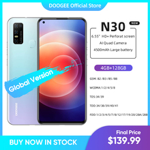 DOOGEE N30 Full Netcom 6 55 #8222 calowy Quad Camera 128GB ROM Octa Core globalna wersja telefon komórkowy 4500mAh duża bateria Android 10 OS tanie tanio Nie odpinany CN (pochodzenie) Rozpoznawania linii papilarnych Do 48 godzin 16MP Nonsupport Smartfony Bluetooth 5 0 Pojemnościowy ekran