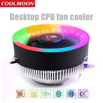 COOLMOON Q2 Colorful LED CPU Cooling Cooler Fan Heatsink Computer PC Chassis 3Pin TDP 70W for LGA 775/1366/1156/AM4/AM3+/AM3 image