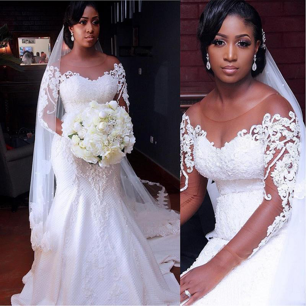 Vintage African Mermaid Wedding Dresses 2020 Latest Long Sleeve Lace Wedding Gowns Black Girl Women Bride Dress Vestido De Noiva