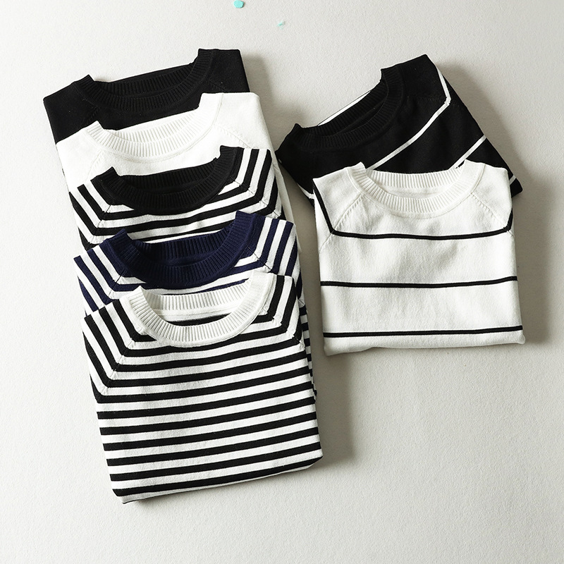 Short-sleeved Female 2018 New Summer Pullovers Korean Wild Self-cultivation Base Black And White Striped Ice Silk Sweater QQ006