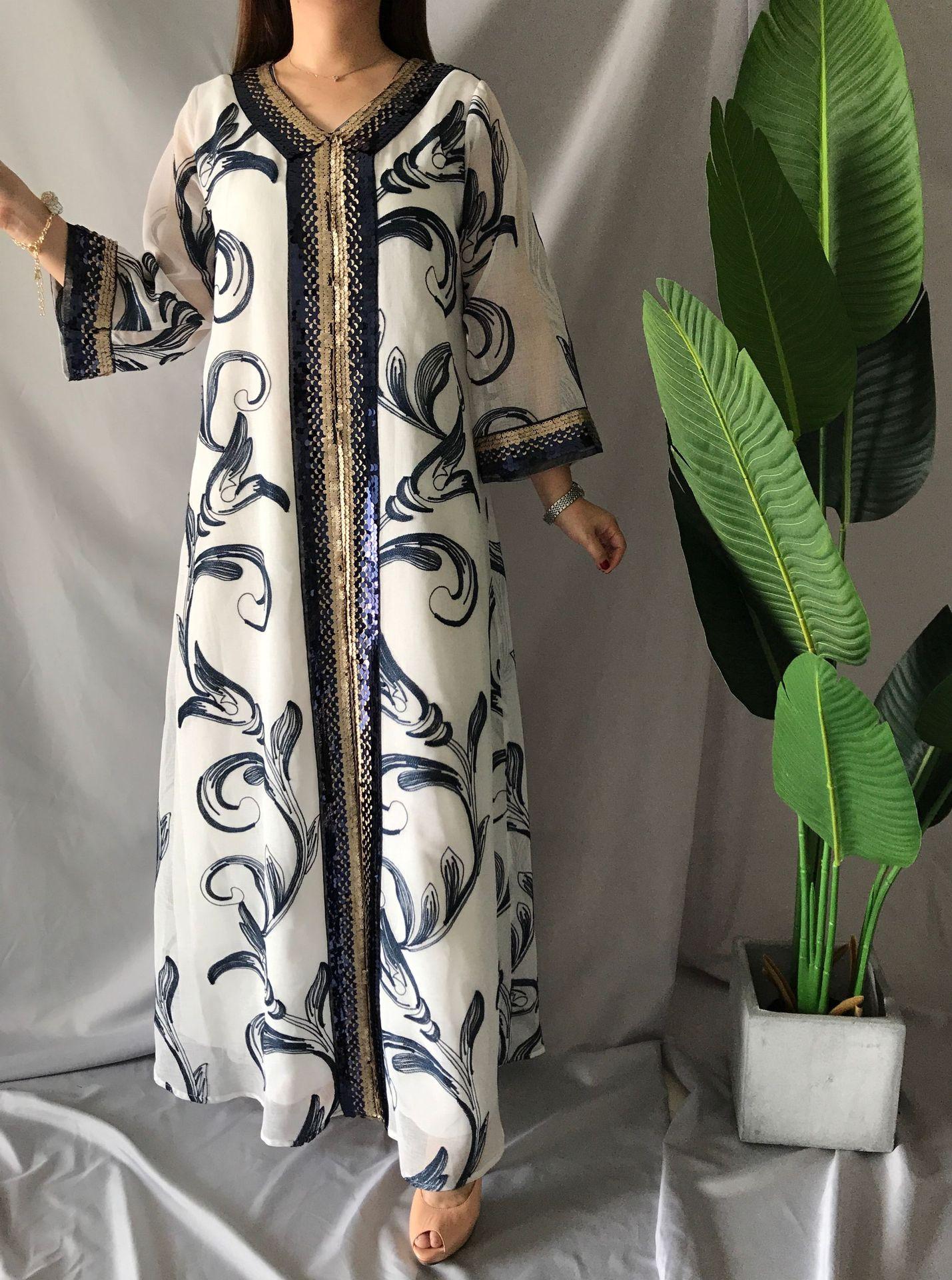 Модное мусульманское платье с вышивкой и блестками, Дубай, Арабская абайя, дуаби, арабский, турецкий, марокканский, кафтан, Исламская одежда,...