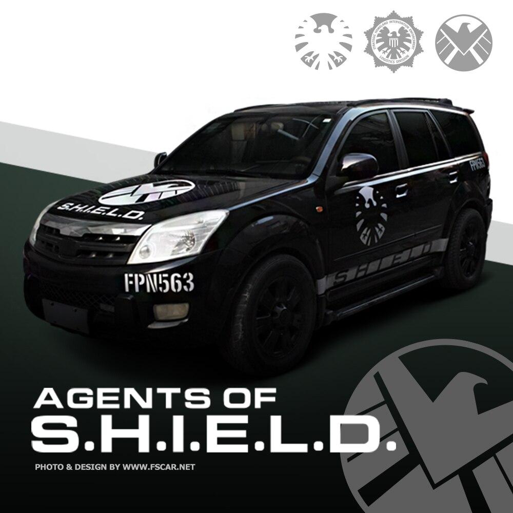 Creative SHIELD Agent Logo Car Stickers Decals Exterior Car Body Door & Waist Line Rear Windshield Decoration Auto Accessories