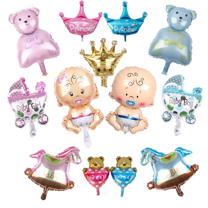 Gender Reveal Aluminum balloons set baby shower party supplies for girls boys Crown balloons birthday party decorations kids