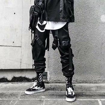 Pantalones Cargo para hombre, pantalones de chándal de estilo informal de Hip Hop con Multi-pocket elástico cintura Harem pantalones hombres Streetwear Punk pantalones Joggers hombres tobillo-longitud Pantalones