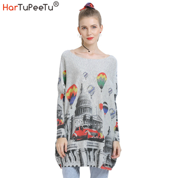 Long Knitted Oversized Sweater Women Pullover Autumn Wool Basic Tops Loose Casual Balloon Print Batwing Long Sleeve Homewear figure print batwing sleeve top