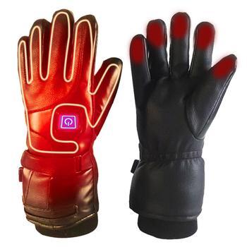 Unisex elektryczny ciepły do ogrzewania rękawiczek akumulator zasilany z baterii rękawice termiczne Winter Sport do ogrzewania rękawiczek do wspinaczki na nartach tanie i dobre opinie Skóra syntetyczna Wodoodporna Cycling Heated Gloves Uniwersalny Electric heated gloves Cycling golves Leather+heat-preserving cotton