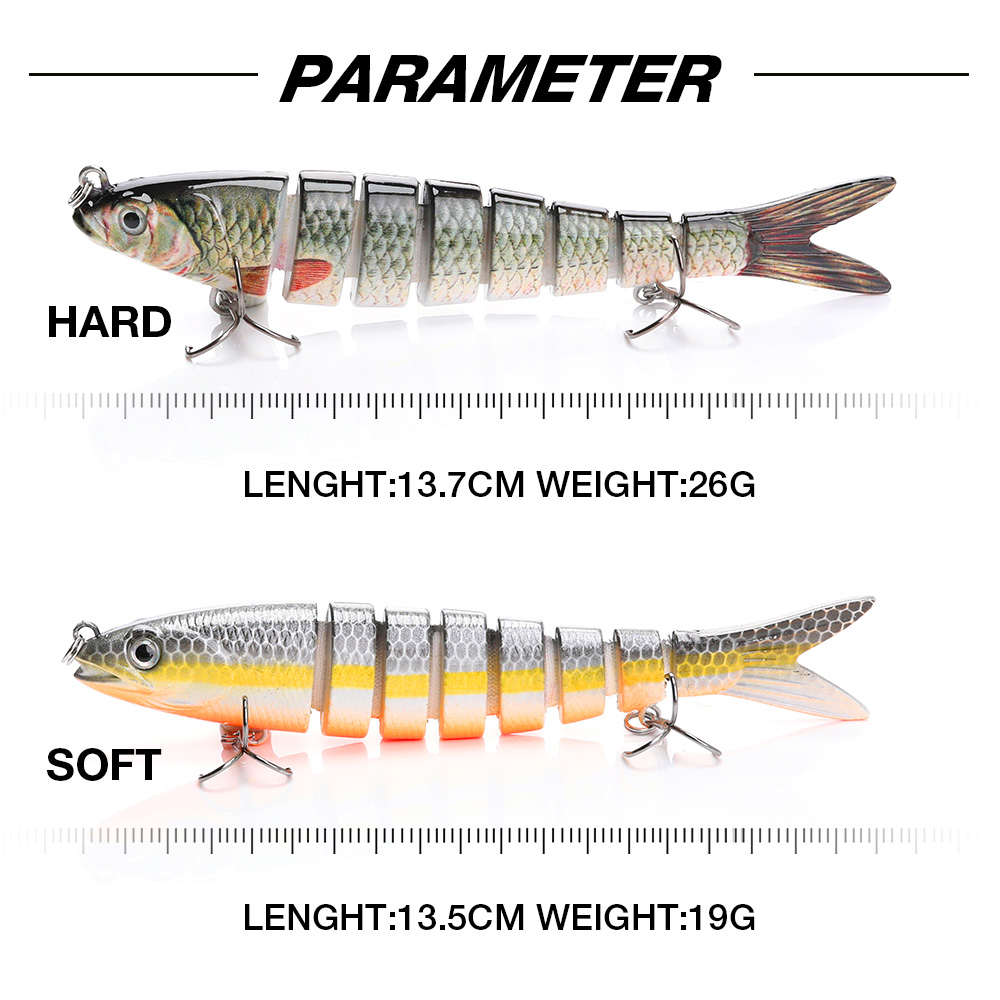 Image 4 - 13.7cm 26g Pike Wobblers Fishing Lures Sinking 8 Segments Multi Jointed Artificial Bait Hard Swimbait Crankbaits Fishing Tackle-in Fishing Lures from Sports & Entertainment