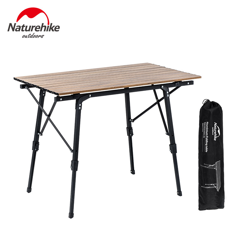 Naturehike Camping Table Portable Telescopic Folding Table Outdoor Picnic Multipurpose Tables Wood Grain Lightweight Table