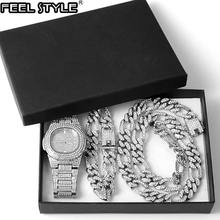 Hip hop 3pcs /set 13mm iced out paved rhinestones miami curb