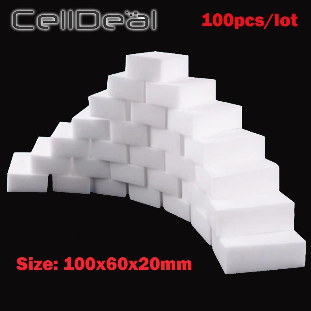 100 pcs/lot Melamine Sponge Magic Sponge Eraser Kitchen Bathroom Cleaning Eraser Dish Car Office Cleanser Sponge 100*60*20mm