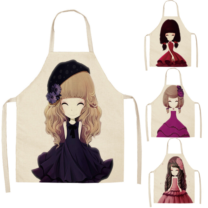 1 Pcs Cotton Linen Lovely Girl Printed Kitchen Aprons For Women Home Cooking Baking Waist Bib Pinafore