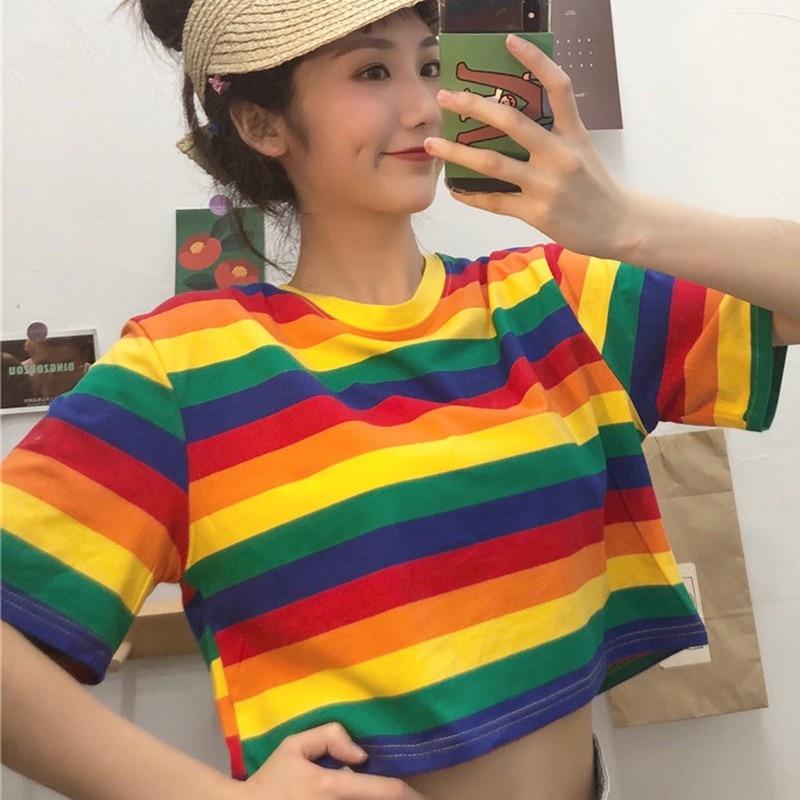 Summer Rainbow T-Shirt Women Loose Round Collar Stripes Print T-Shirts Loose Short Sleeve Casual Short Wild T-Shirt 2020 New