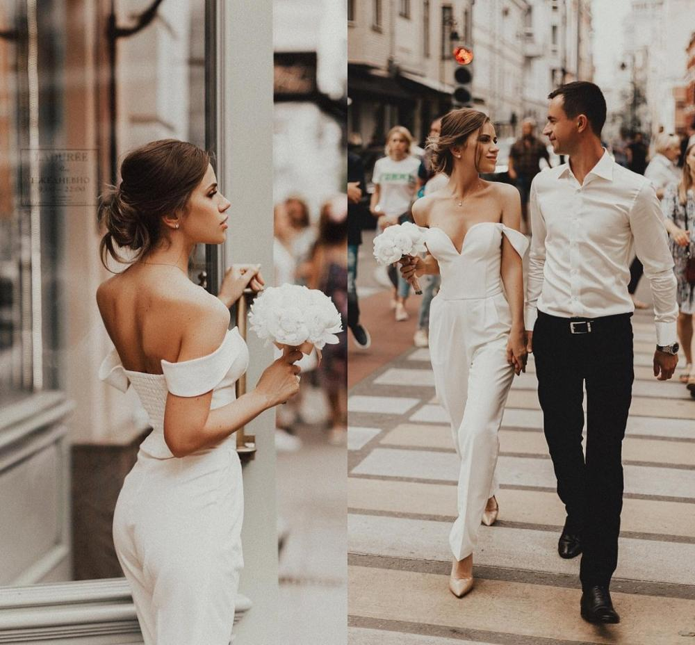 Beach Jumpsuits Wedding Dresses Off The Shoulder Country Bohemian Bridal Gowns 2021 Custom Made robe de mariage