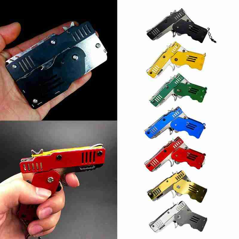 Mini Folding Six Bursts Rubber Band Gun Can Hold The Key Chain Made All Metal Guns Shooting Toy Gifts Boys Outdoor Tools Gifts