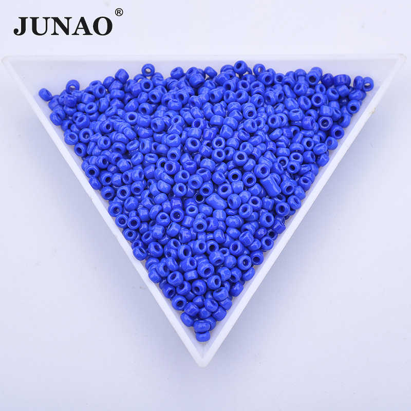 JUNAO 20g 2mm כחול צבע תפירת זכוכית עגול Rhinestones חרוזים Loose Spacer צמיד חרוזים תכשיטי בגדים בעבודת יד מלאכות