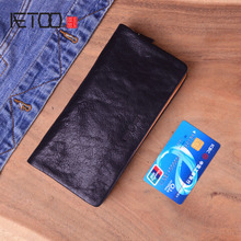 AETOO Genuine Cow Leather Long Mens Card Wallet Multifunction  Vintage skin Purse Man Male Large Clutch Bag