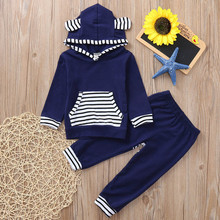 Cute Toddler Infant Baby Boys Long Sleeve Hooded Tops Striped Print Pants 2PC Toddler Outfits  Set