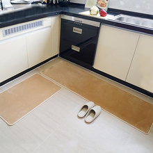 Kitchen Anti Slip Rugs Bathroom Absorbent  Door Mats Restaurant Solid Color Flannel Small Carpet Khaki
