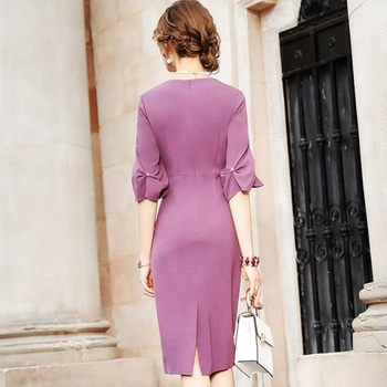 spring 2020 NEW Superior quality Work Pencil Solid dress Women Clothing autumn Party Dress plus size Vintage High waist dresses 3