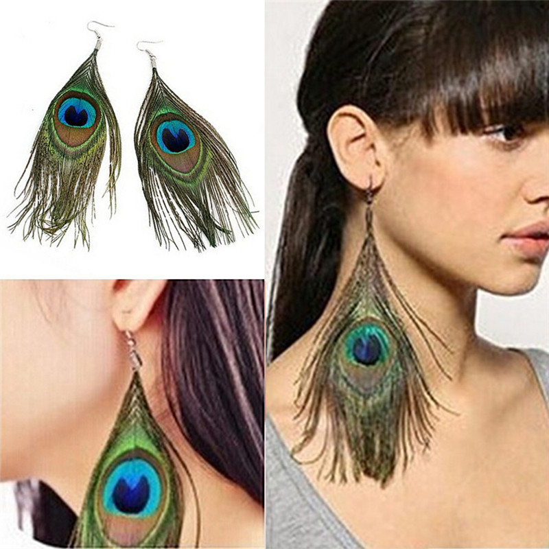 Crystal Long Design Peacock Feather Drop Earrings For Women Bijoux New Jewelry