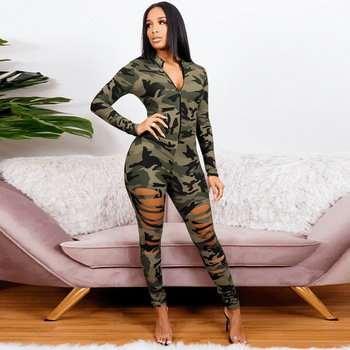 Sexy Burnt Flower Ripped Jumpsuit Spring 2021 Plus Size Women's Zipper Long Sleeve Collocation Fashion Camouflage Print Jumpsuit 1
