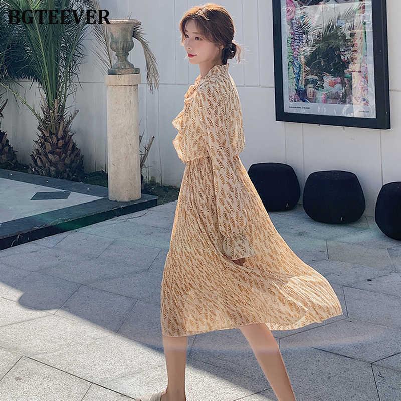 BGTEEVER Модное шифоновое женское платье со шнуровкой и оборками женское длинное платье винтажное плиссированное платье с расклешенными рукавами Vestidos femme 2019