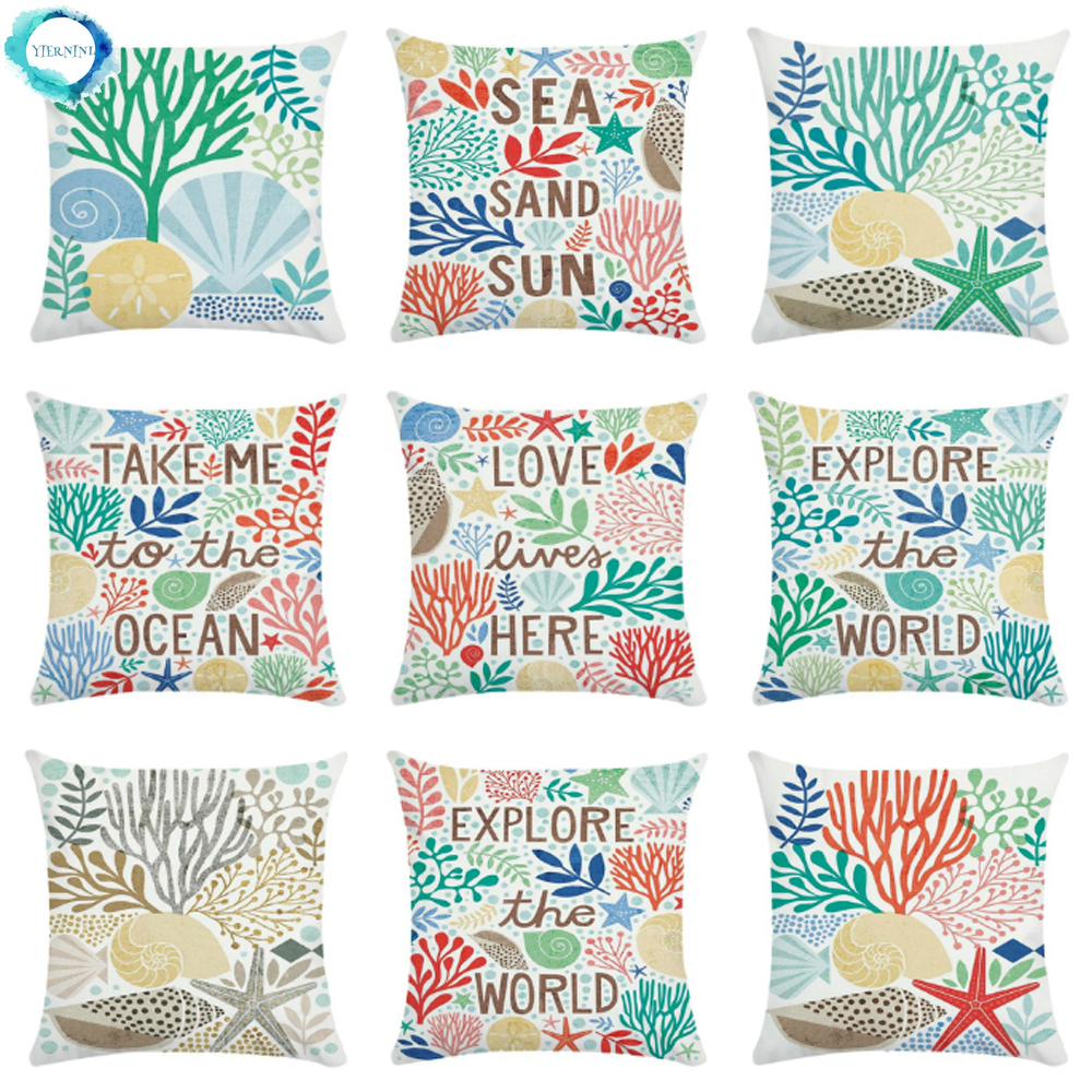 Decorative Cushion Cover Watercolor Marine Life Ocean Coral Shell Starfish Print Polyester Pillow Case Bedroom Sofa Decoration