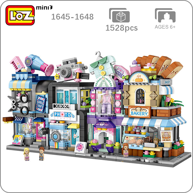 LOZ City Street Bakery Hair Salon Photo Studio Couture Clothing Bread Shop Store 3D Model Mini Blocks Small Building Toy No Box