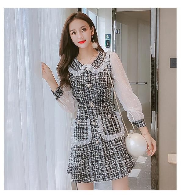 New arrival 2020 Autumn Fashion Design Women long Sleeve Dress Ladies elegant chiffon patchwork Tweed Plaid Dress Female Robe 4