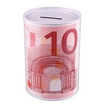 Металлическая жестяная пластина цилиндр Копилка евро, доллар коробка для картин Бытовая экономия денег декоративная коробочка