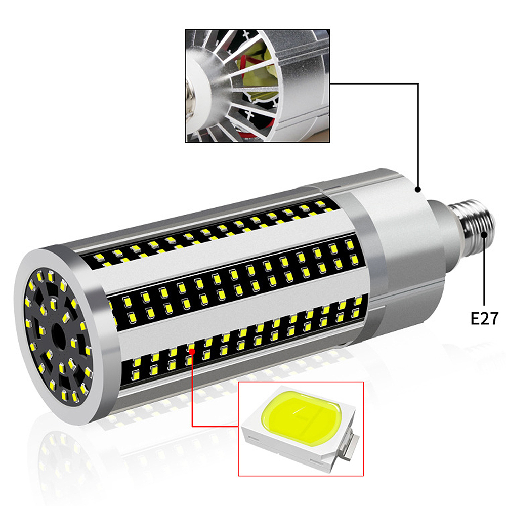 60W Super Bright Corn LED Light Bulb With E27 Large Mogul Base Adapter For Large Area Commercial Ceiling Lighting