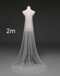 Image 3 - 진주 베일 화이트/아이보리 신부 베일 빗 한 레이어 대성당 로얄 펄 웨딩 베일 Veu de Noi EE708
