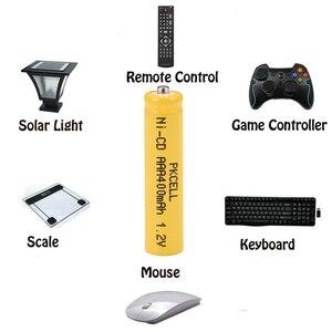 Image 3 - 6 шт. PKCELL AAA nicd Батарея 400 мАч 1,2 в перезаряжаемая батарея Кнопка NICD Топ для солнечных ламп без PCB