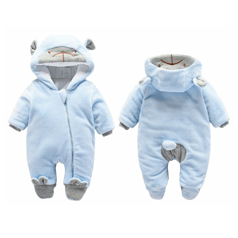 Winter Baby Romper Flannel Thick Overalls Boys Girl Autumn Warm Hooded Jumpsuit Fashion Infant Wear Newborn Kid Climb Clothes in Rompers from Mother Kids