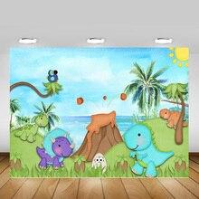 صور خلفية للرسوم المتحركة للديناصور لوحة زيتية للبحر لحديثي الولادة خلفية استحمام للأطفال ألوان مائية صورة بركية للأدغال البرية