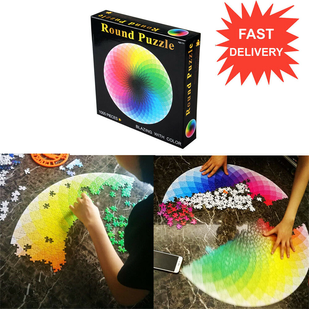 1000 Pcs/Set Jigsaw Rainbow Round Geometrical Photo Puzzles Toys Adult Kids DIY Educational Reduce Stress Jigsaw Paper Toy