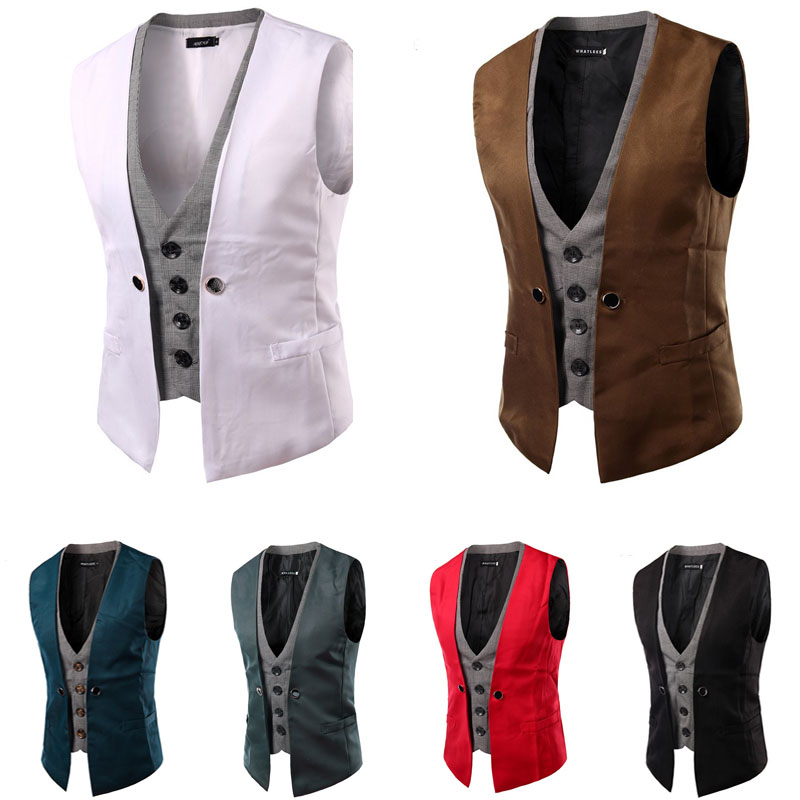 Dropshopping Men Vest Singlet Breasted Waistcoat 2019 Brand Fashion Patch Color Slim Suit Vest Fake Two Pieces Sleeveless Gilet