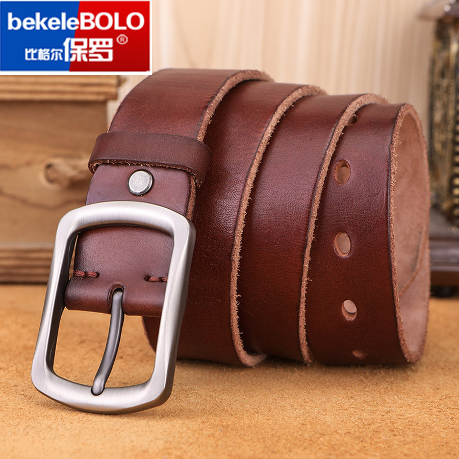Fashion Men's Belt Top Natural Genuine Leather Sturdy Buckle Men Vintage Belt Suitable for Jeans Casual Pants Cummerbund
