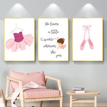 Cartoon Posters And Prints Skirt Shoes Girl Canvas Art Poster Nursery Pink Wall Painting For Baby Room Decor