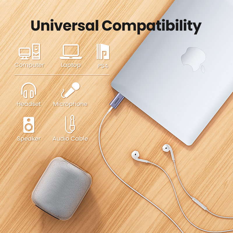 Ugreen Sound Card 2-in-1 USB Audio Interface External 3.5mm Audio Adapter Soundcard for Laptop PS4 Headset USB Sound Card 6