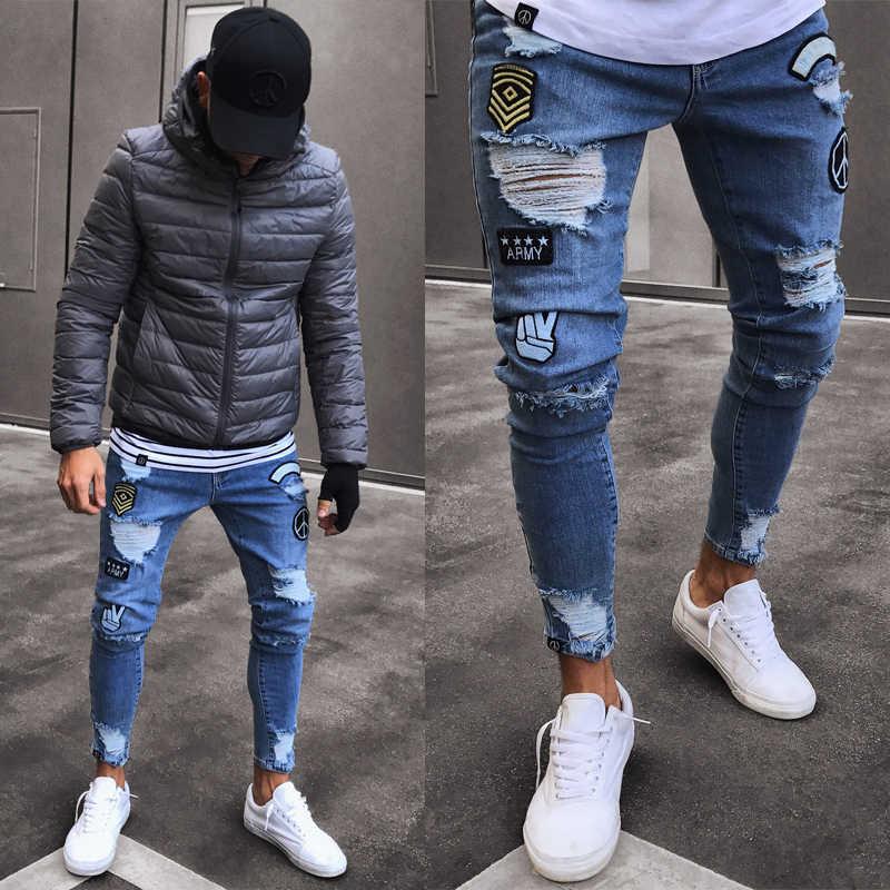 Street Wear Frayed Cetak Bordir Biker Jeans Pria Elastis Ripped Skinny Jeans Hancur Direkam Slim Fit Denim Celana Jeans Aliexpress