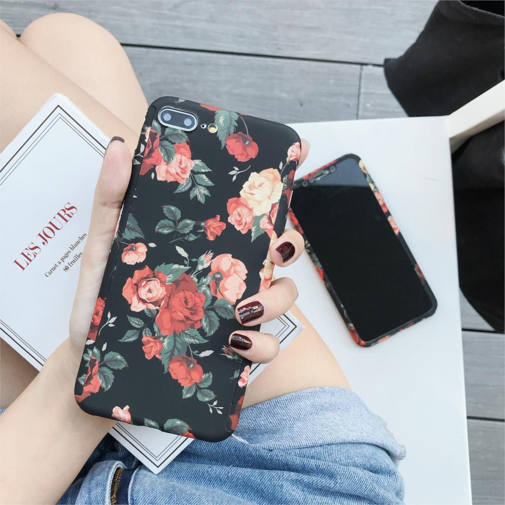 360 Full Protective Cover For Iphone 11 Pro XS Max X XR 6 S 6S 7 8 Plus 5 5S SE Oil Painting Art Flower Cases Slim Hard PC Funda